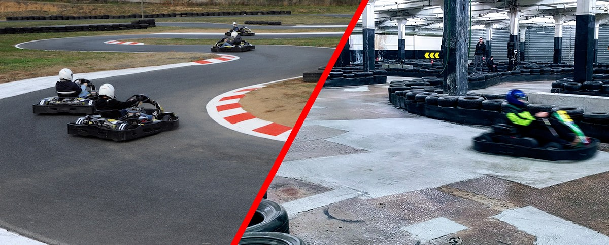 piste de karting outdoor versus piste de karting indoor